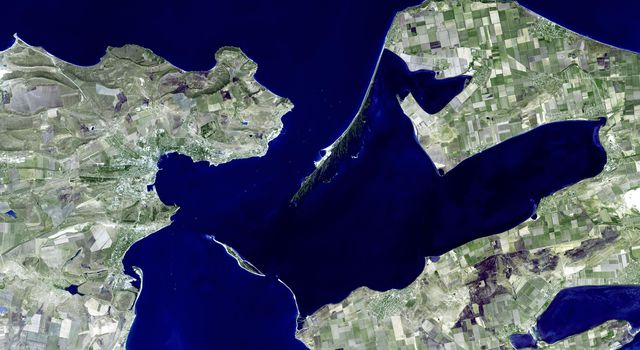 This image, from NASA's Advanced Spaceborne Thermal Emission and Reflection Radiometer instrument aboard Terra, shows Kerch, one of the most ancient cities of the Ukraine.