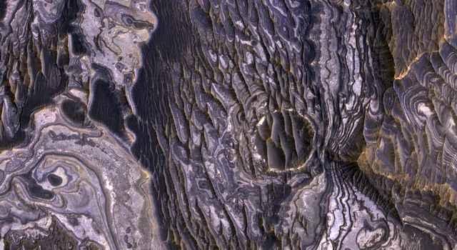 This view, taken by NASA's Mars Reconnaissance Orbiter, shows color variations in bright layered deposits on a plateau near Juventae Chasma in the Valles Marineris region of Mars.