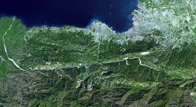 NASA's Terra spacecraft captures a clear sky image of the region of the recent Haiti earthquake.