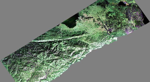 NASA's Uninhabited Aerial Vehicle Synthetic Aperture Radar (UAVSAR) captured this false-color composite image of the city of Port-au-Prince, Haiti, and the surrounding region on Jan. 27, 2010.