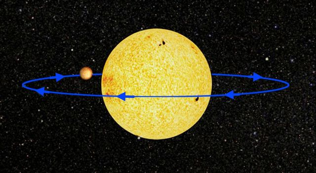 This artist concept shows the planetary system called HD 189733, located 63 light-years away in the constellation Velpecula.