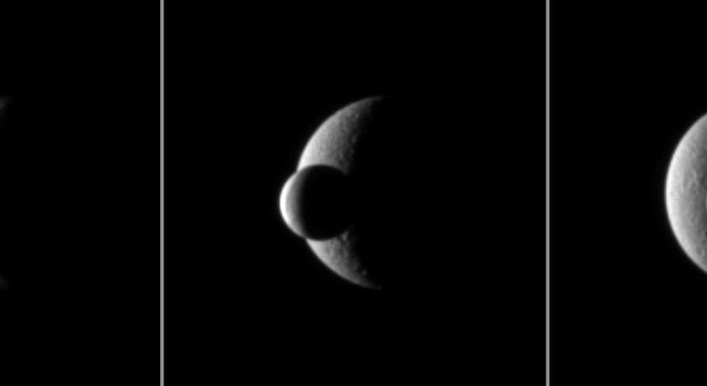 Two of Saturn's icy moons pass each other in a mutual event recorded by NASA's Cassini spacecraft. The smaller moon Enceladus passes in front of the larger moon Rhea.