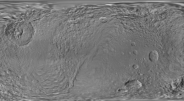 This global map of Saturn's moon Tethys was created using images taken during NASA's Cassini spacecraft's flybys.
