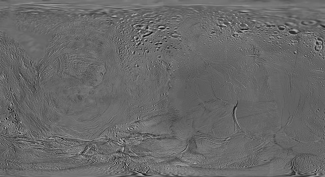 This mosaic shows an updated global map of Saturn's icy moon Enceladus, created using images taken during NASA's Cassini spacecraft's flybys. The map incorporates images taken during flybys in October and November 2009.