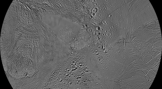 The northern and southern hemispheres of Saturn's moon Enceladus are seen in these polar stereographic maps, mosaicked from the best-available NASA Cassini and Voyager clear-filter images.