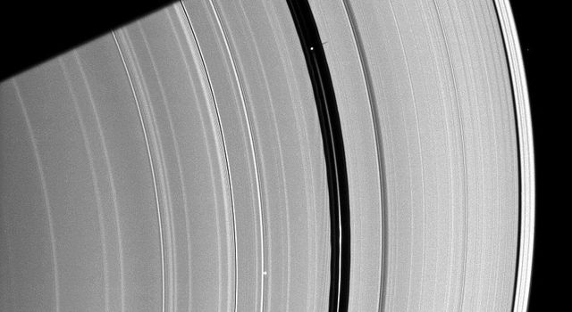 Saturn's moon Pan, orbiting in the Encke Gap near the top of the image, casts a short shadow on the A ring in this image taken by NASA's Cassini spacecraft about six months after the planet's August 2009 equinox.