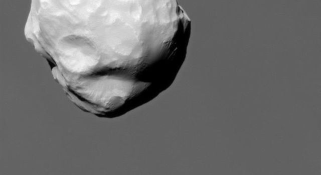 Although travelling at great speed, NASA's Cassini spacecraft managed to capture this close view of Saturn's small moon Helene during a flyby on March 3, 2010.