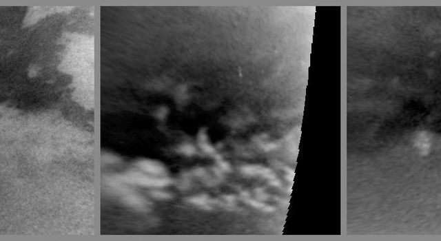 This series of images from NASA's Cassini spacecraft shows changes on the surface of Saturn's moon Titan, as the transition to northern spring brings methane rains to the moon's equatorial latitudes.