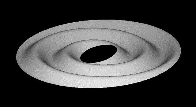 This graphic from NASA's Cassini spacecraft captured after Saturn's August 2009 equinox, shows Saturn's rings, after they became tilted relative to Saturn's equatorial plane, would have transformed into a corrugated ring.