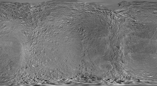 This global digital map of Rhea was created using data taken during NASA's Cassini and Voyager spacecraft flybys. This map contains data from Cassini's Jan. 11, 2011, flyby of Rhea. Six Voyager images fill gaps in Cassini's coverage of the north pole.