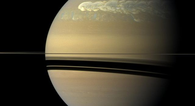A huge storm churning through the atmosphere in Saturn's northern hemisphere overtakes itself as it encircles the planet in this true-color view from NASA's Cassini spacecraft.
