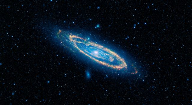 The immense Andromeda galaxy, also known as Messier 31, is captured in full in this image from NASA's Wide-field Infrared Survey Explorer. Andromeda is the closest large galaxy to our Milky Way galaxy, and is located 2.5 million light-years from our sun.