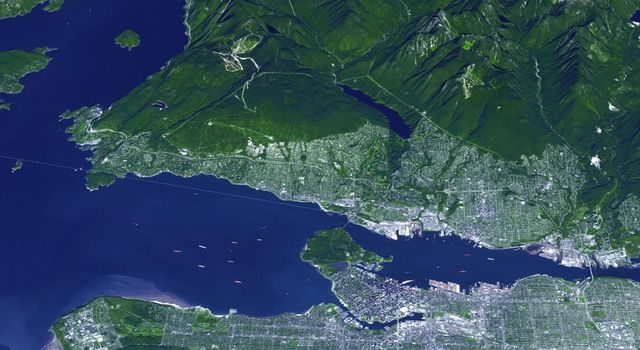 On Feb. 12, 2010, the 21st Winter Olympic Games opened in the city of Vancouver, British Columbia, Canada. NASA's Terra spacecraft acquired this image of the city of Vancouver, British Columbia, Canada, on Sept. 29, 2008.