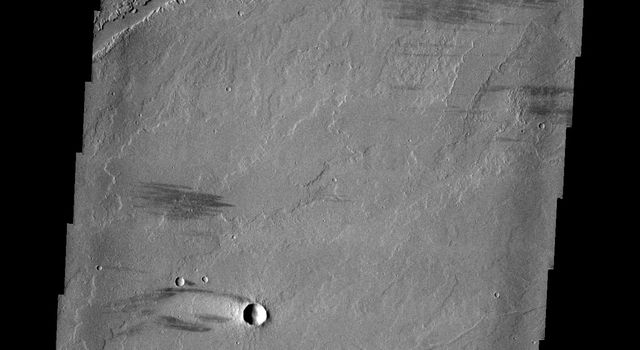The complex region of channels at the top of this image, captured by NASA's 2001 Mars Odyssey spacecraft, are lava channels. These channels are called Olympica Fossae.