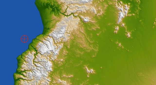 This color-coded shaded relief view from NASA's Shuttle Radar Topography Mission of coastal Chile indicates the epicenter (red marker) of the 8.8 earthquake on Feb. 27, 2010, just offshore of the Maule region in the Bahia de Chanco.