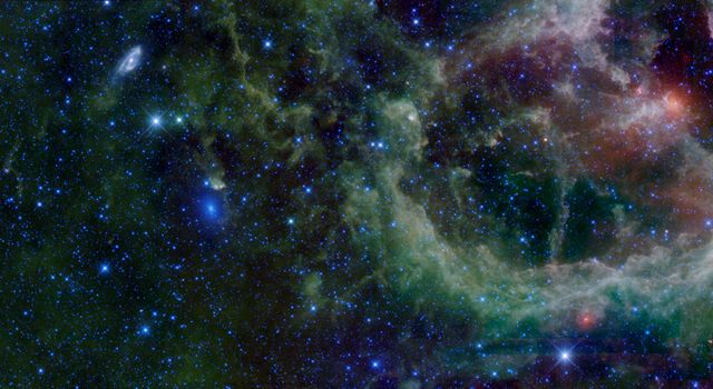 This mosaic of images from NASA's WISE Telescope is in the constellation of Cassiopeia. This region contains a large star forming nebula within the Milky Way Galaxy, sometimes called the Heart Nebula, and is over 6 thousand light-years from Earth.