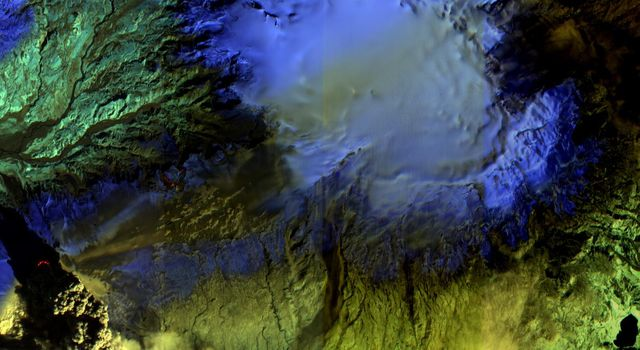 The Advanced Land Imager onboard NASA's Earth Observing-1 (EO-1) spacecraft obtained this false-color infrared image of Iceland's Eyjafjallajö kull volcano on April 17, 2010. A strong thermal source is visible at the base of the Eyjafjallajö kull plume.