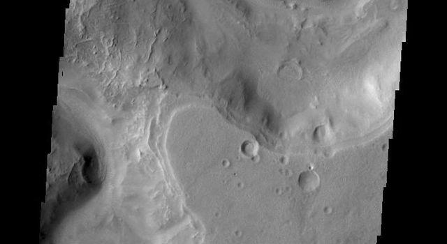This image taken by NASA's 2001 Mars Odyssey shows a small portion of Auqakuh Vallis.