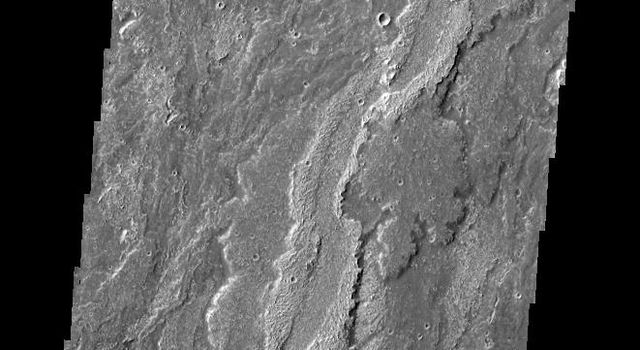 Some of the youngest volcanic flows on Mars are from Arsia Mons. This image captured by NASA's 2001 Mars Odyssey of Daedalia Planum shows some of these flows.