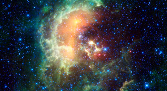A new infrared image from NASA's Wide-field Infrared Survey Explorer, or WISE, showcases the Tadpole nebula, and asteroids that just happened to be cruising by.