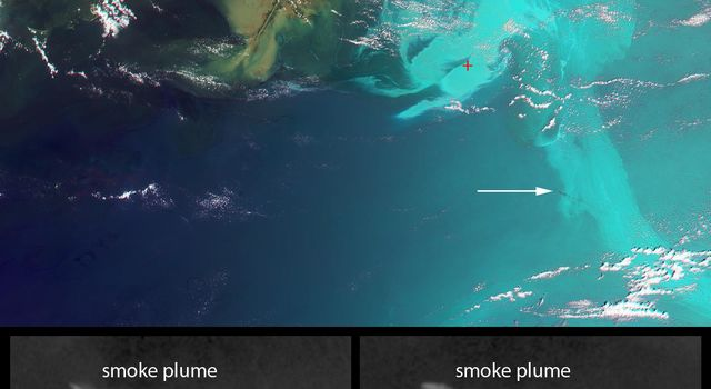 This false-color image, obtained by NASA's Terra spacecraft on May 17, 2020, indicates the former location of the drilling platform (red symbol) and pointing to a plume of smoke (white arrow).