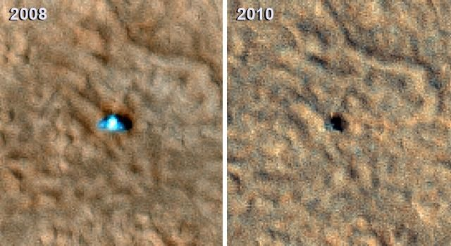 Two images of the Phoenix Mars lander as captured by NASA's Mars Reconnaissance Orbiter taken from Martian orbit in both 2008 and 2010.