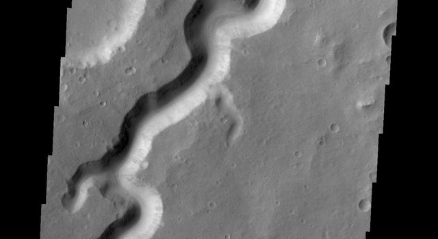 A section of Nanedi Valles is shown in this image captured by NASA's 2001 Mars Odyssey.
