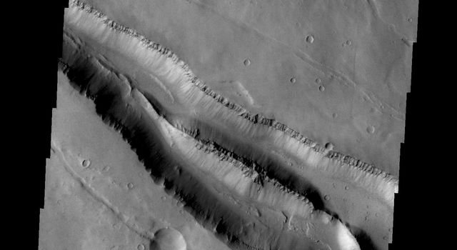 The fractures in this image from NASA's 2001 Mars Odyssey are located on the northwestern flank of the Elysium Mons volcanic complex.
