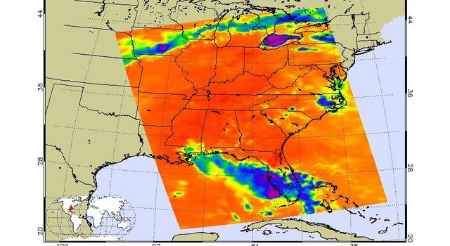 Tropical Storm Bonnie, now a depression, rakes South Florida in this infrared image from NASA's Atmospheric Infrared Sounder, en route to a weekend run-in with the Gulf of Mexico and the Gulf oil spill.