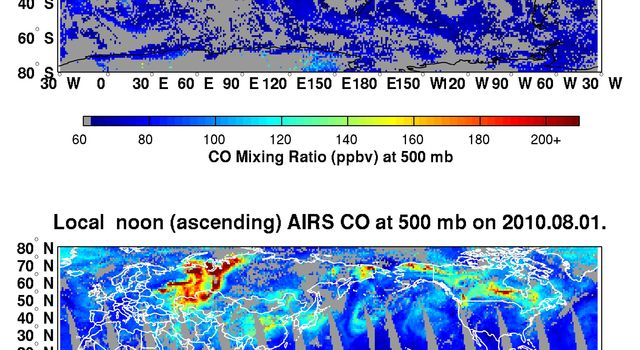 NASA's Aqua spacecraft tracked the concentration and transport of carbon monoxide from Russian fires in 2010, during which time some 558 fires were burning.