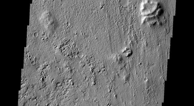 The wind etched region in this image captured by NASA's Mars Odyssey on July 23, 2010 is called Zephyria Planum.