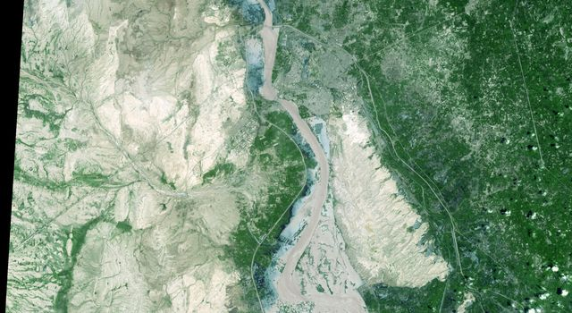 On Sept. 3, 2010, when NASA's Terra spacecraft captured this image strip over the Indus River in Pakistan, severe flooding was still causing a major humanitarian crisis in Pakistan. The city of Hyderabad is near the middle of the image.