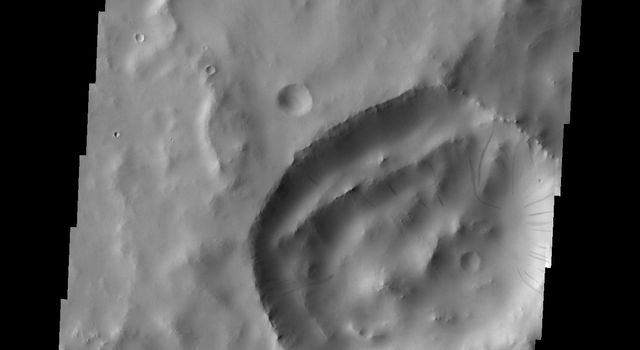 This image captured by NASA's Mars Odyssey shows dark slope streaks in an unnamed crater in Terra Sabaea.