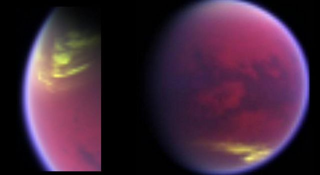 This pair of false-color images, made from data obtained by NASA's Cassini spacecraft, shows clouds covering parts of Saturn's moon Titan in yellow, while Titan's hazy atmosphere appears magenta.