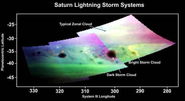 This false-color image, made from infrared data obtained by NASA's Cassini spacecraft, shows dark and bright clouds on Saturn associated with thunderstorm activity.