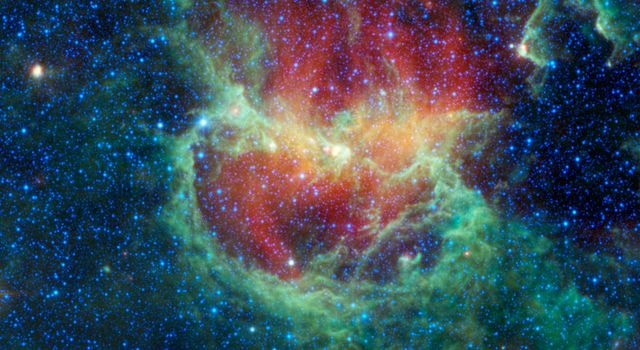 This infrared image from NASA's Wide-field Infrared Survey Explorer shows the Lambda Centauri nebula, a star-forming cloud in our Milky Way galaxy, also known as the Running Chicken nebula.