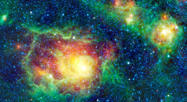 This colorful picture is a mosaic of Messier 8, or the Lagoon nebula, taken by NASA's Wide-field Infrared Survey Explorer. This nebula is composed of clouds of gas and dust in which new stars are forming.