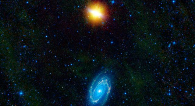This image from NASA's Wide-Field Infrared Explorer features two stunning galaxies engaged in an intergalactic dance. The galaxies, Messier 81 and Messier 82, swept by each other a few hundred million years ago.