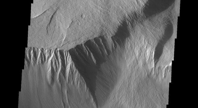 This image from NASA's Mars Odyssey shows the southeast flank of Olympus Mons. This huge volcano is surrounded by an escarpment, a large cliff at the volcano margin; a landslide lies alongside the escarpment.