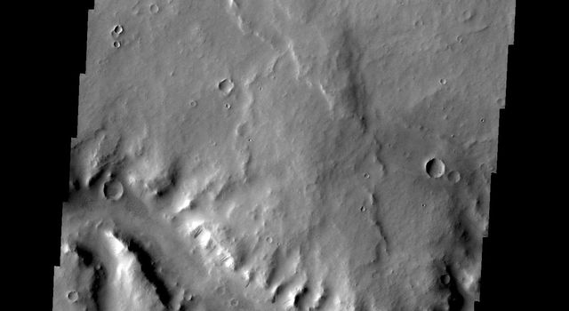 This image from NASA's Mars Odyssey shows a short section of Naktong Vallis.