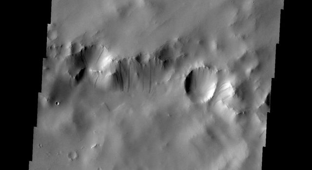 Dark streaks mark the slope of this crater rim south of Tikhonravov Crater in this image captured by NASA's Mars Odyssey.