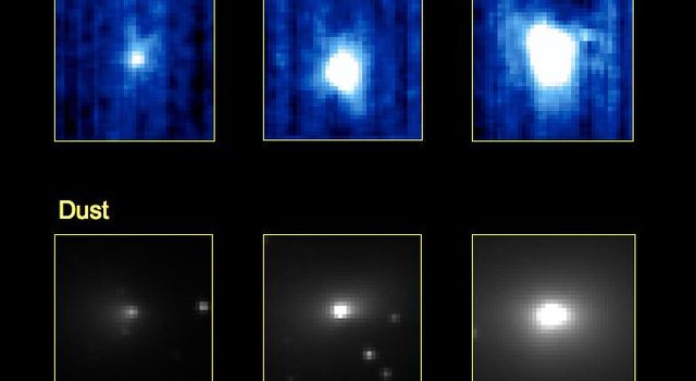 These three pairs of images from NASA's EPOXI mission demonstrate that a dust jet and gaseous carbon dioxide are being released from comet Hartley 2 at the same time, and from the same location on the comet.