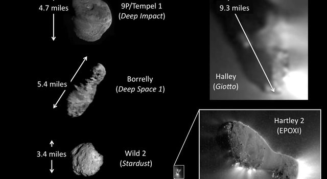 This montage from NASA's EPOXI mission shows the only five comets imaged up close with spacecraft. The comets vary in shape and size. Comet Hartley 2 is by far the smallest and the most active of small comets.