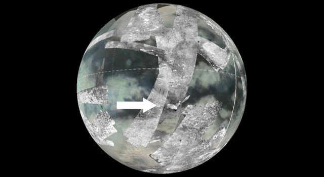 This image from NASA's Cassini spacecraft shows the location of an area known as Sotra Facula on Saturn's moon Titan. Scientists believe the Sotra Facula region makes the best case for a cryovolcanic, or ice volcano, region on Titan.