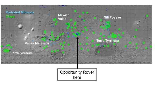 On this map of Mars, spectrometers on spacecraft orbiting Mars have detected clay minerals (green) and hydrated minerals -- clays, sulfates and others (blue).