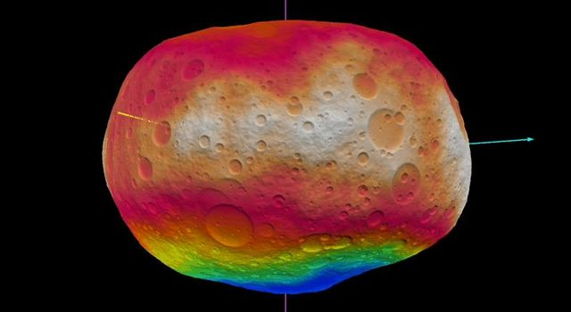 This image shows NASA'S Dawn scientists' best guess to date of what the surface of the protoplanet Vesta might look like; it incorporates the best data on dimples and bulges from ground-based telescopes and NASA's Hubble Space Telescope.