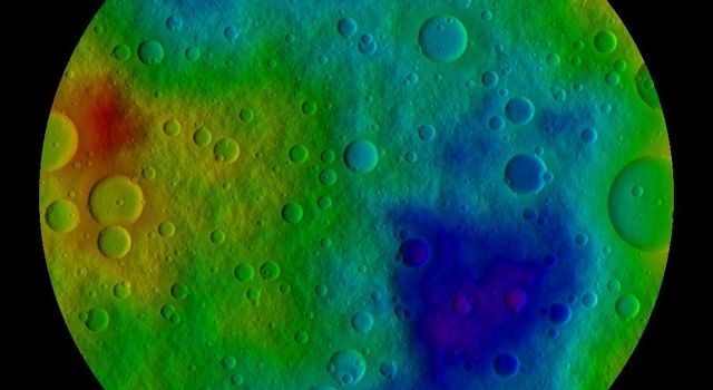 This image shows the scientists' best guess to date of what the surface of the protoplanet Vesta might look like from the south pole and incorporates the best data on dimples and bulges Vesta from ground-based telescopes and NASA's Hubble Space Telescope.