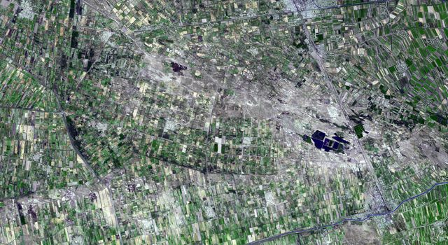 This image captured by NASA's Terra spacecraft is of the Jizzax Province in eastern Uzbekistan, one of the main agricultural regions of the country. Uzbekistan is the world's sixth largest producer and second-largest exporter of cotton.
