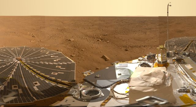 This view combines hundreds of images taken during the first several weeks after NASA's Phoenix Mars Lander arrived on an arctic plain on Mars. The landing was on May 25, 2008.