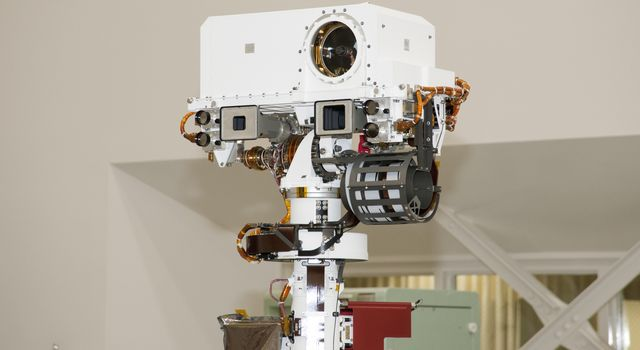 The remote sensing mast on NASA's Mars rover Curiosity holds two science instruments for studying the rover's surroundings and two stereo navigation cameras for use in driving the rover and planning rover activities.